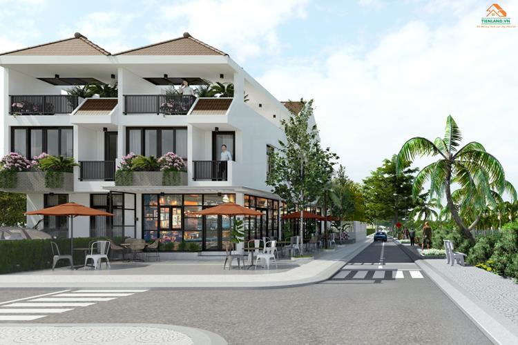 Cafe sân vườn với đường nội khu rộng rãi