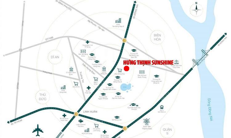 Vị trí khu căn hộ Hưng Thịnh Sunshine Đông Hòa