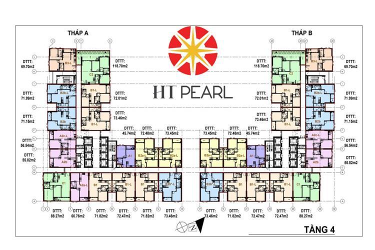 Mặt bằng tầng 4 khu căn hộ HT Pearl Dĩ An