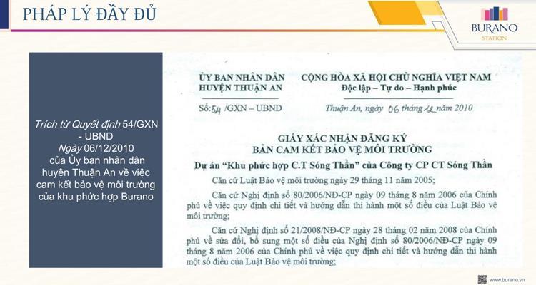 Thông tin PHÁP LÝ mới nhất củaBurano Station