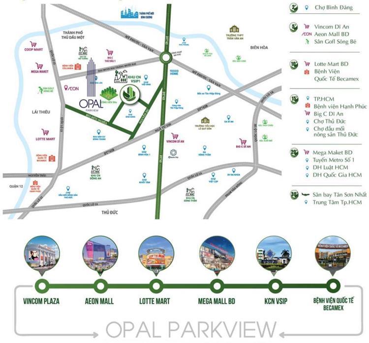 Vị trí khu căn hộOpal ParkView Thuận An