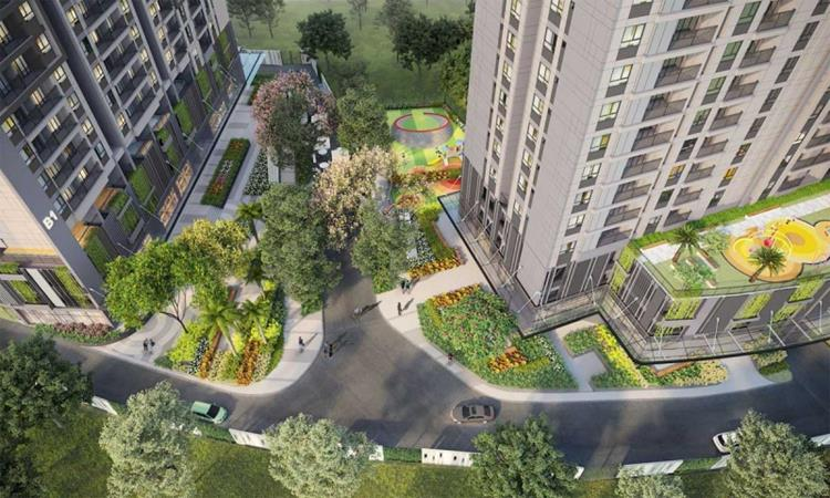 Khuôn viên xanh của khu căn hộ