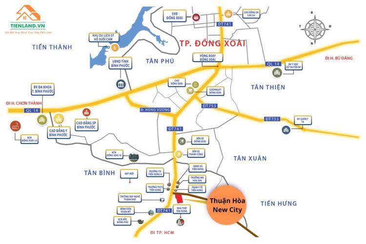 Vị trí dự án ngay trung tâm thành phố mới Đồng Xoài