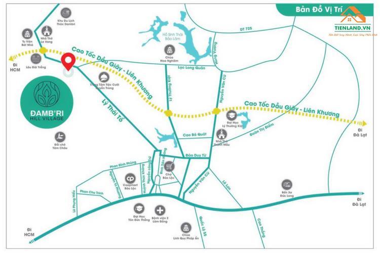 Vị trí dự án đất nền Đambri Hill Village Bảo Lộc