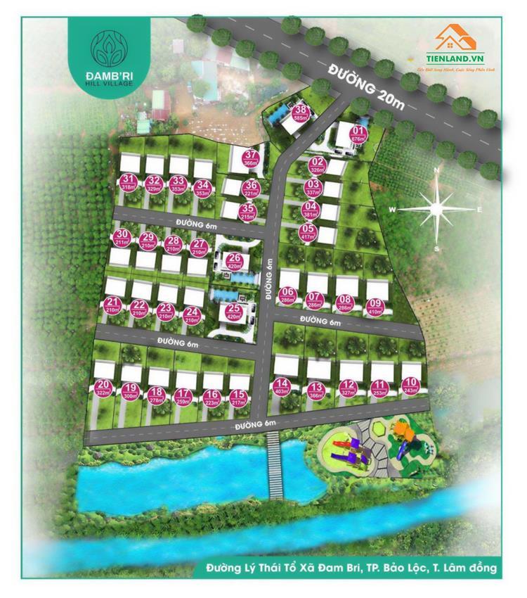 Mặt bằng dự án Đambri Hill Village Bảo Lộc