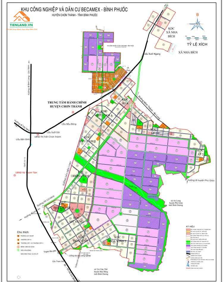 Bảng vẽ chi tiết khu công nghiệp và dân cư Becamex Bình Phước